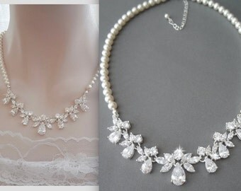 Brides necklace ~ AAA Cubic Zirconia's ~ Pearl necklace ~ Wedding Necklace ~ Swarovski ~ Wedding jewelry ~ Bridal jewelry ~ Stunning ~LILLY