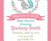 Girl Woodland Baby Shower Invites, Coral and Teal Invitations, Girl Fox Baby Shower, Baby Fiona Fox Invitations - 5x7