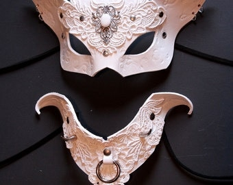Womans White Cat mask & Collar