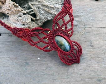 Red jewelry for her Statement necklace, Labradorite jewelry for women, Crystal tribal jewelry, Woman Gift September birthstone FREE SHIPPING