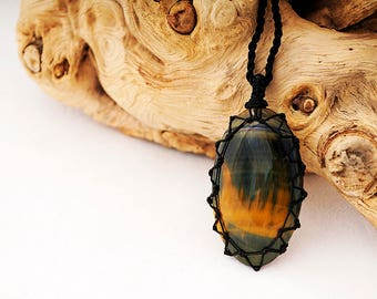 Blue Tiger Eye jewelry, Boho necklace for her, Stone pendant necklaces, Hawk's Eye necklace, Womens gemini gemstones jewelry, FREE SHIPPING