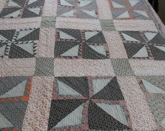 Vintage pinwheel quilt handmade