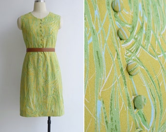 Vintage 70's Limoncello Citrus Yellow Button Shift Dress XS or S
