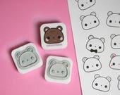 Kawaii Bear Rubber Stamp - Scrapbooking, Pen Palling, Planning