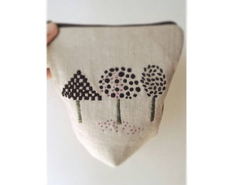 Black Trees Pouch / Embroidered Pouch / Jewelry Pouch / Ear Bud Pouch / Tampon Pouch / Linen Pouch/ Embroidered Linen Pouch