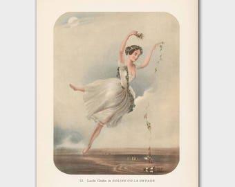 """Ballerina Print, Vintage Ethereal Art (1940s Ballet Wall Art, White Shabby Chic Decor) --- """"Heavenly Decent"""""""