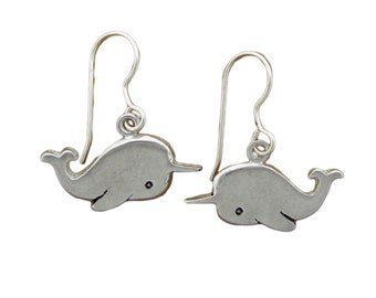 Narwhal Earrings - Pewter and Sterling Silver Narwhal Earrings