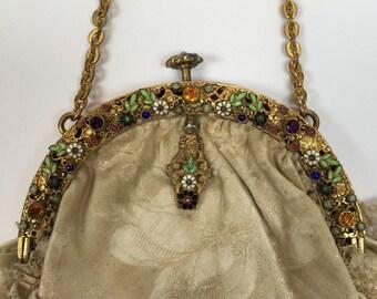 Beautiful 1900's Enamelled Framed Bag