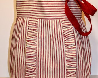 Pillow Ticking Ruffle Purse in Red
