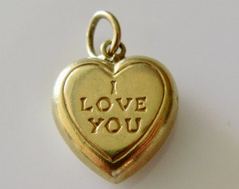 Vintage 9ct Gold I Love You Heart Charm
