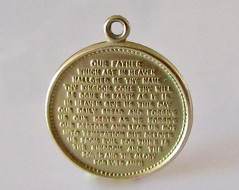 9ct Gold Engraved The Lords Prayer Charm or Pendant