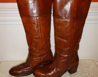 Vintage Frye Boots Brown Leather Riding Boots 9.5 9 1/2 B Medium Western Wooden Heel