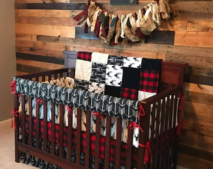 Featured listing image: Baby Boy Crib Bedding - Buck Deer, Black Arrows, Lodge Red Black Buffalo Check, and Black Crib Bedding Ensemble