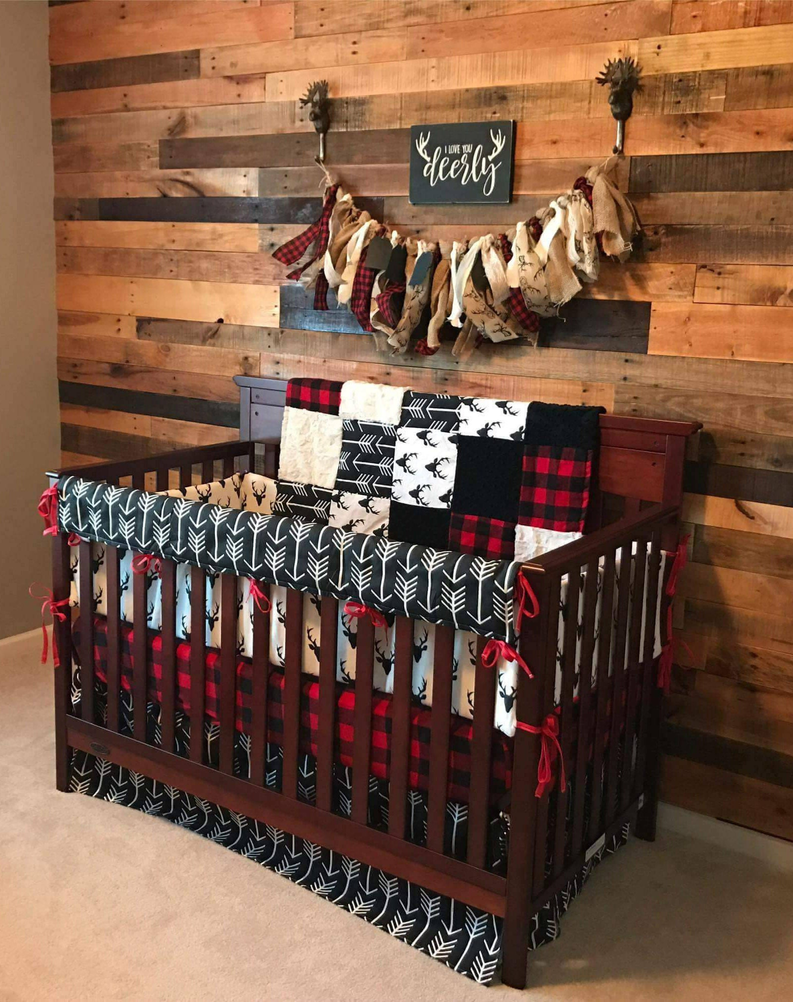 Baby Boy Crib Bedding Buck Deer Black Arrows Lodge Red