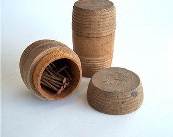 Small Round Wood barrel container holder Lidded miniature keg Lathe Turned vessel 2 piece assortment
