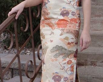VINTAGE CHEONGSAM DRESS upholstery weight jacquard nina neal xs