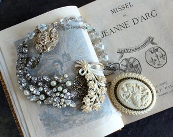 Joan of Arc Assemblage, Elegant necklace, Vintage jewelry, Devotional medal, religious, spiritual, wedding bridal antique stunning gorgeous