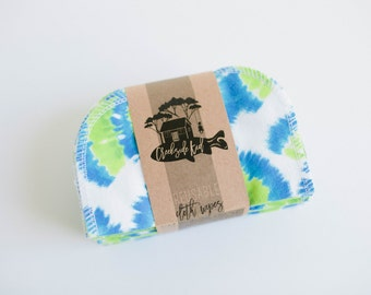 Cloth Diaper Wipes - Family Cloth - Soft  Baby Wipes Cloth Wipes Set of 20 Baby Wipes - Reusable Flannel Wipes (Blue Green Tie Dye)