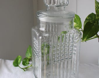 Vintage Glass Jar with Lid - Koeze's Jar - Decorative Jar - Storage Container - Dry Goods Jar - Kitchen Decor Canister - Kitchen Storage