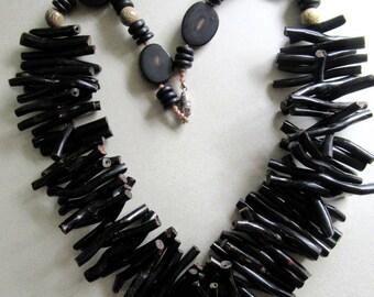 Genuine Black Coral Necklace Statement Large Tropical Cruise Wear Tiki Island Beach beads Runway Hawaii Hawaiian MoonlightMartini