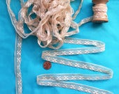 Antique French Lace Rare Flax Linen Handmade Bobbin Lace Tiny Floral Trim Ecru Vintage Lace Doll Dress Bonnet
