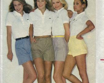 Vintage 1980s Womens Shorts Pattern, Short Shorts, Long Shorts, Camp Shorts, Gathered Pleated Shorts, Fly and Waistband, Size 14, Waist 28