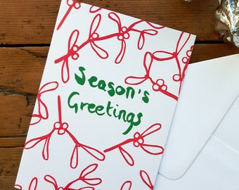Season's Greetings card. Christmas card. Holiday card. Mistletoe card. Mistletoe holiday card. Red and green. Recycled card. Leaf pattern.
