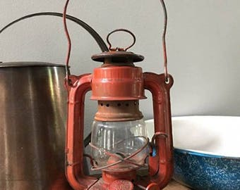 Rustic Vintage Red Lantern / Sun Brand Model No. 3500