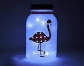 Flamingo Night Light with Glitter - Fairy Light Mason Jar