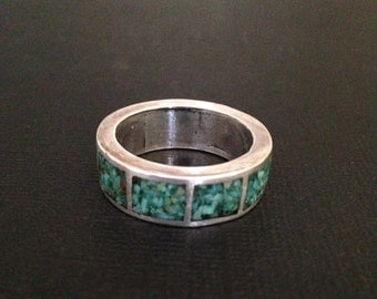 sterling and crushed turquoise  ring