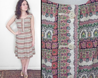 1950s PAISLEY Dress Button Front Cotton 27 Inch Waist Pink Green Black Yellow