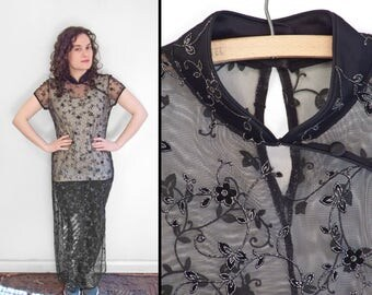 Sheer Black CHEONGSAM 1990s See Through Dress Silver Floral Embroidery Gossamer Duster