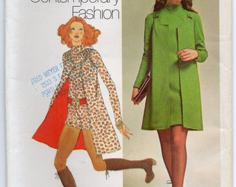 Mini Dress And Short Jumpsuit With Raised Neckline Long Sleeves And Vest Size 11 Sewing Pattern 1971 Simplicity 9664