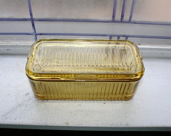 Amber Refrigerator Dish Vintage Federal Glass