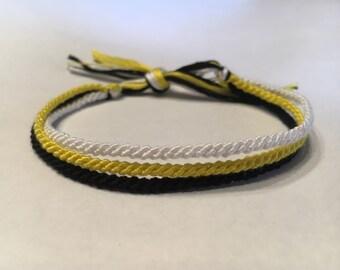 Yellow, Black and White Thin Friendship Bracelet