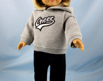 Doll Clothes 18 Inch - fit American Girl - Cheer Hoodie and Sweatpants - 18 Inch Doll Clothes - Grey and Black