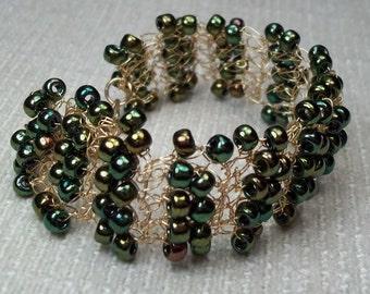 Metallic Green Cuff Bracelet Seed Bead Vintage Boho Wedding Bracelet Flapper Steampunk Handcrocheted Gold Plated Wire Green Garden Wedding