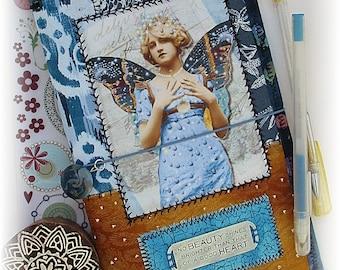 OOAK Fauxdori, Blue Fairy Midori, Fabric Collage Fauxdori, Traveler's Notebook, Free Insert!