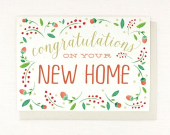Congrats On New Home, New Home Card, moving card, watercolor, hand painted, congratulations on your new home, blank card