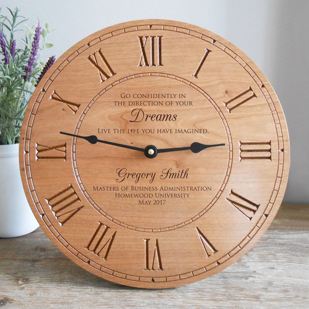 personalized graduation wood wall clock personalized. Black Bedroom Furniture Sets. Home Design Ideas