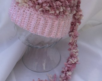 Crocheted Pixie Hat - Photo Prop - Long Tail Pixie Hat - Soft Pink Texture Pixie Hat - Pixie Hat Size 6 - 12 months ~ Baby Hat