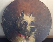 Antique painted tambourine with dog portrait