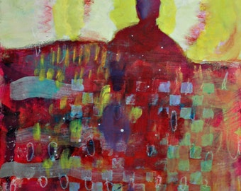 "Abstract Figure Painting, Small Original Under 100, Affordable ""The Sun Will Shine Again"" 8x10"""