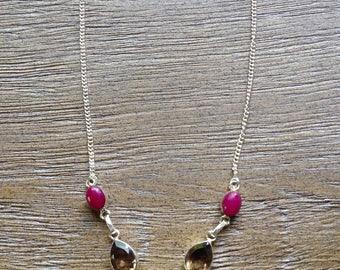 Garnet and Smokey Quartz Necklace
