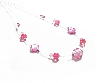 Murano Glass Pink Illusion Sterling Silver Necklace, 16 Inch necklace, Lampwork Glass Necklace, Italian Jewelry, For Her, Venetian Jewelry