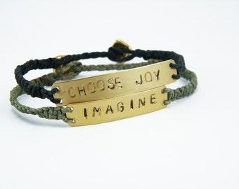 Personalized macrame bracelet Custom name Friendship Bracelet Quote bracelet  Hemp bracelet Personalized stamp bracelet