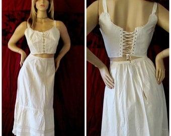 Antique Edwardian Camisole Bra Top White Cotton Brassiere Lace Trim Hook Front Victorian Lace-up Corset Style Back