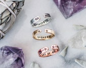 Personalized stacking ring. Personalized gift. Gift for her. Personalized quote ring. Name ring. Stacking name ring.Inspirational quote ring