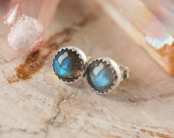 Labradorite earrings, sterling silver stud earrings, labradorite goddess earrings, labradorite stud, 8mm labradorite earrings, RTS