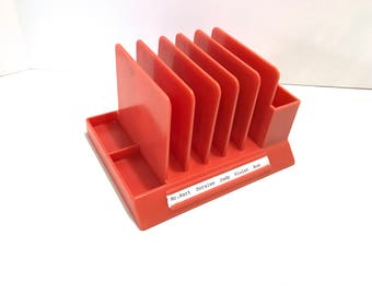 "Vintage Max Klein ORANGE Tone Plastic Desk Accessory Stationery Caddy Organizer Mail Inbox Pen Pencil Holder Retro ""9 to 5"" Inspired"
